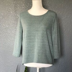 ANTHROPOLOGIE Green Top W5 Sage Fuzzy 3/4 Sleeves